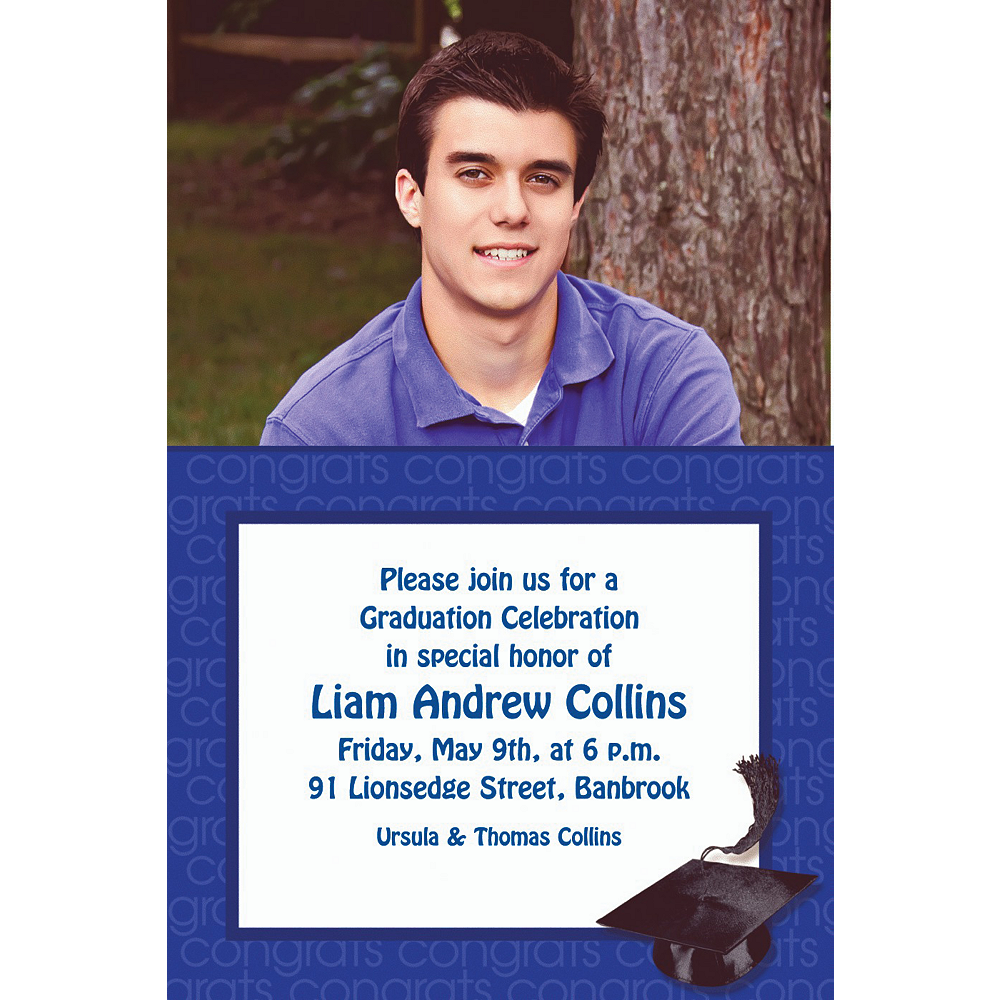 Custom Royal Blue Congrats Grad Photo Invitations  Image #1