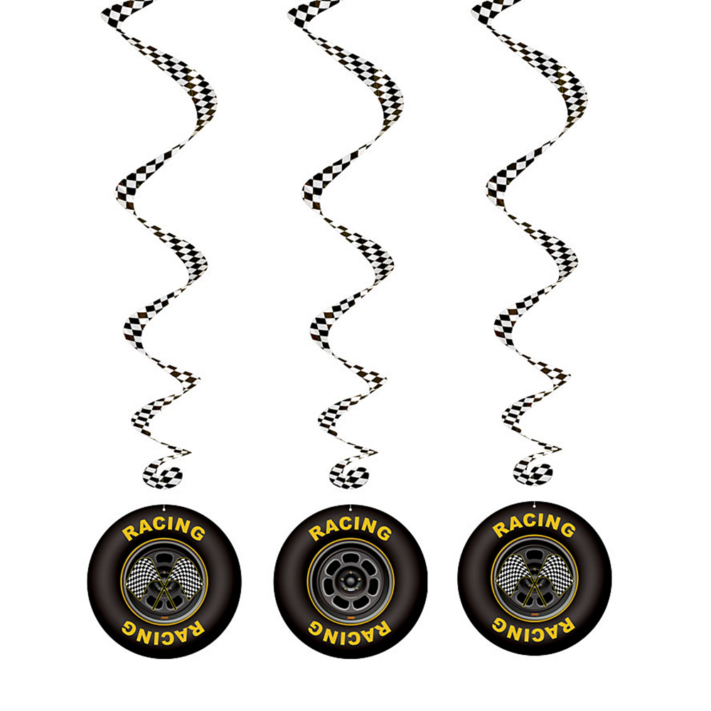 Racing Tires Swirl Decorations 3ft 3ct Image #1