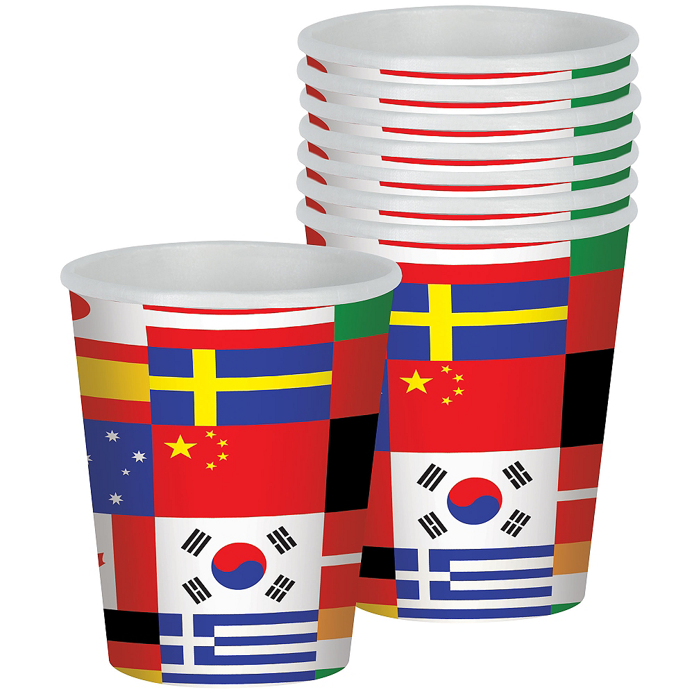 International Flag Cups 8ct Image #1