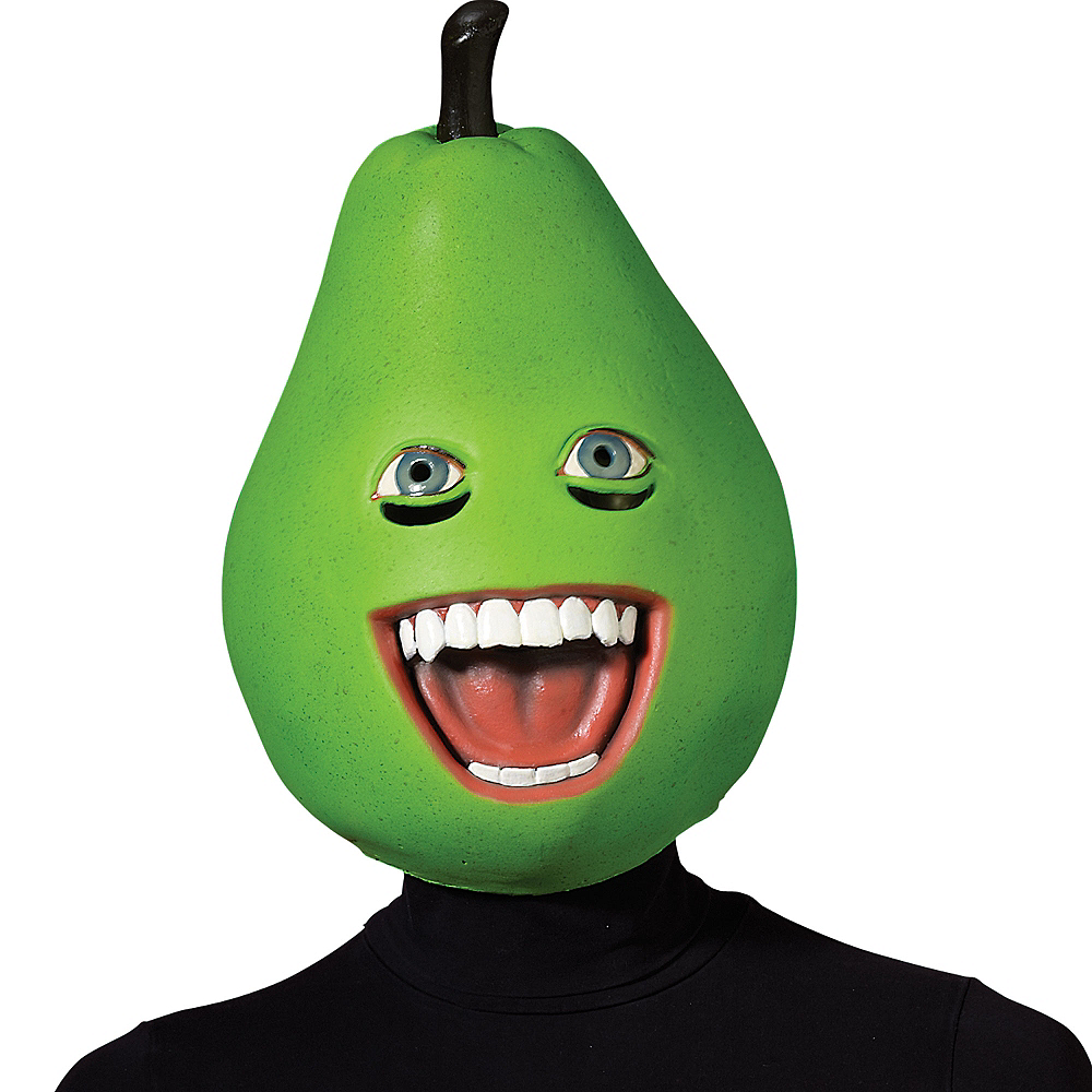 Latex Annoying Orange Pear Mask Image #1
