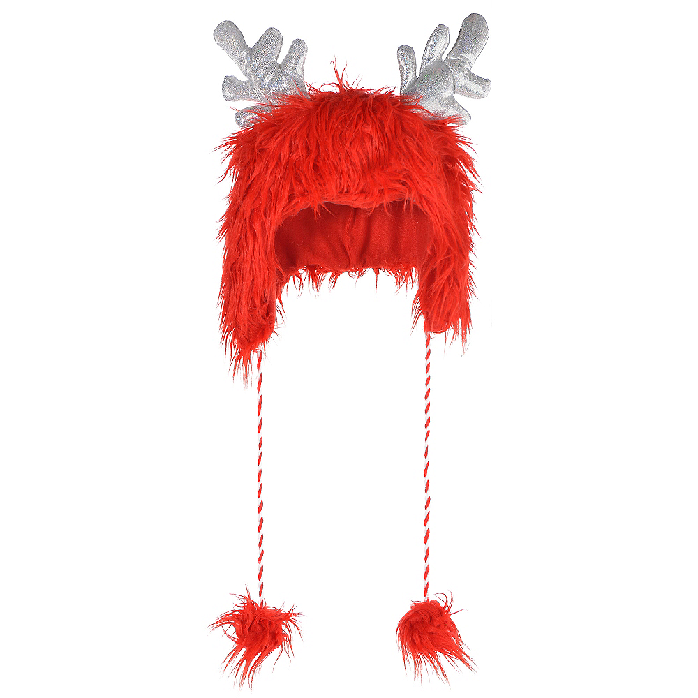 Red Fuzzy Antler Hat Image #1