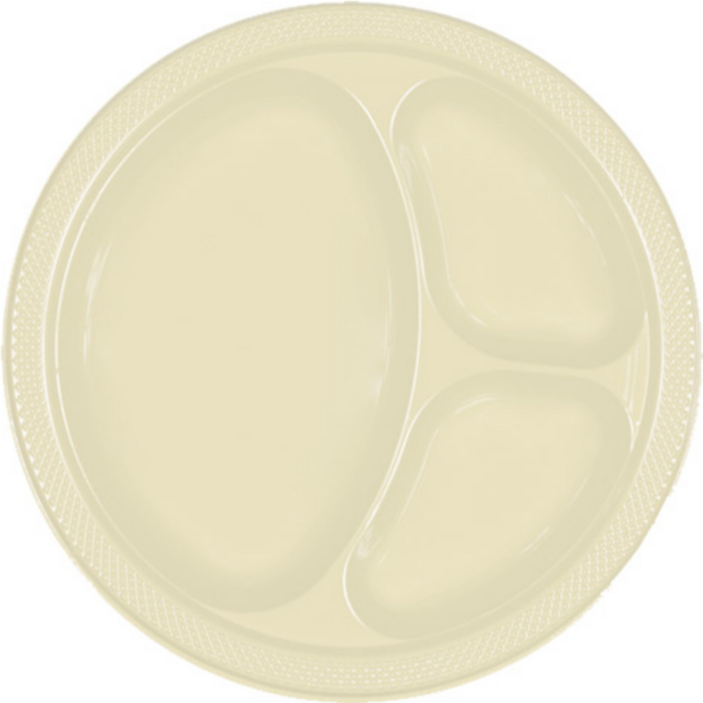 Vanilla Cream Plastic Divided Dinner Plates 20ct Image #1