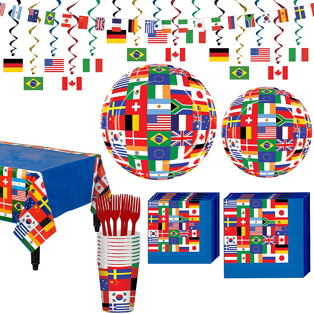 Super International Flag Party Supplies Party Kit for 16 Guest Image #1
