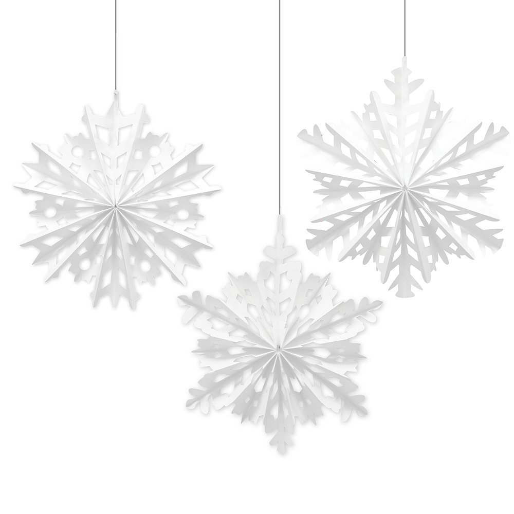 Snowflake Fan Decorations 3ct Image #1