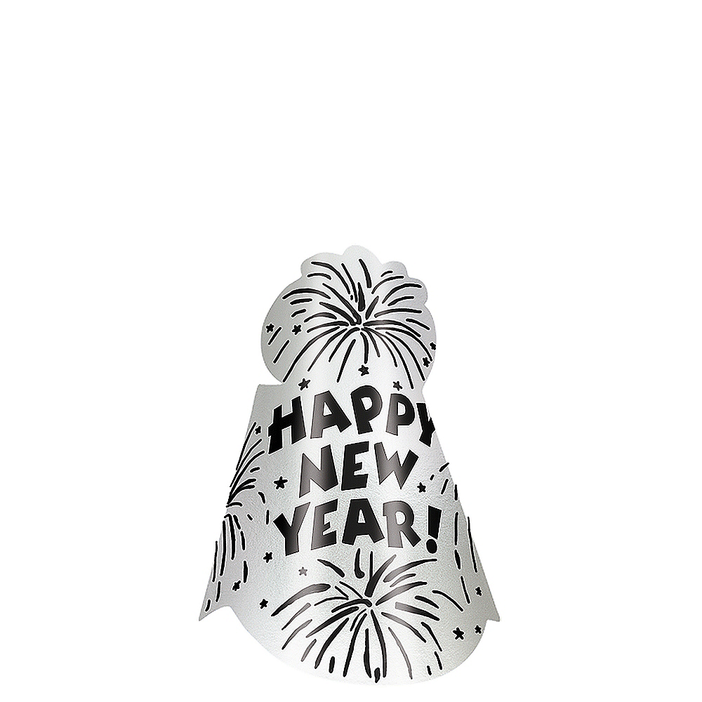 Foil Silver New Year's Cone Hat Image #1