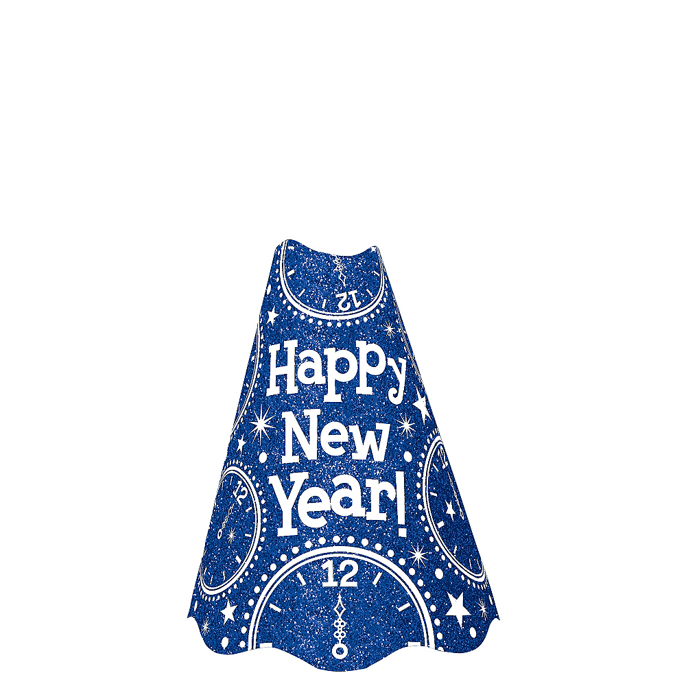 Glitter Blue New Year's Cone Hat Image #1