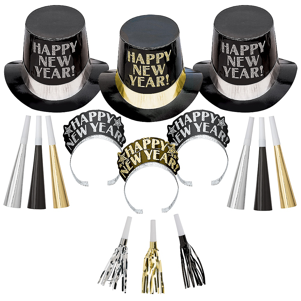 Kit For 10 - Midnight Elegance - Black, Gold & Silver New Year's Party Kit Image #1