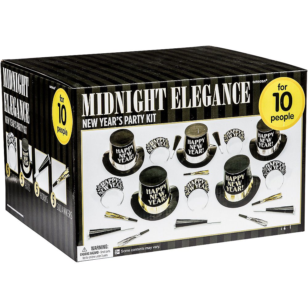 Kit For 10 - Midnight Elegance - Black, Gold & Silver New Year's Party Kit Image #2