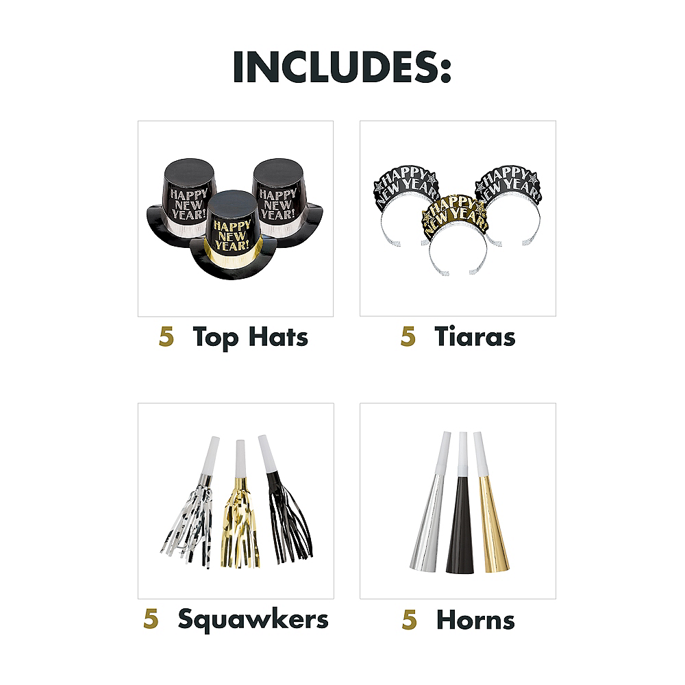 Kit For 10 - Midnight Elegance - Black, Gold & Silver New Year's Party Kit Image #3