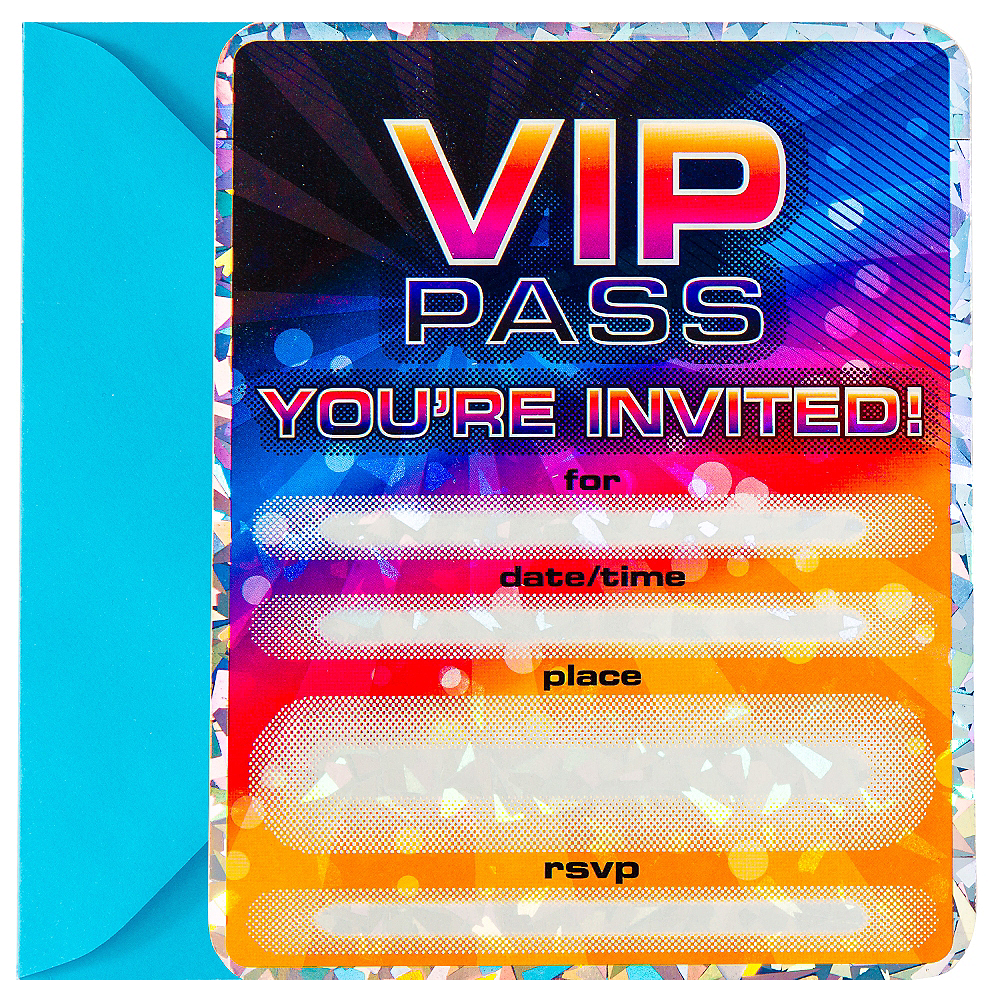 Premium Prismatic Vip Pass Invitations 8ct Party City