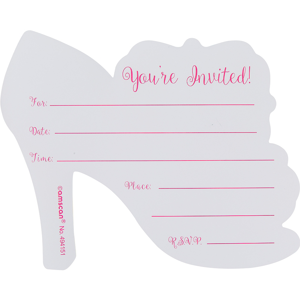 Premium Glitter Zebra Shoe Invitations 8ct Image #2