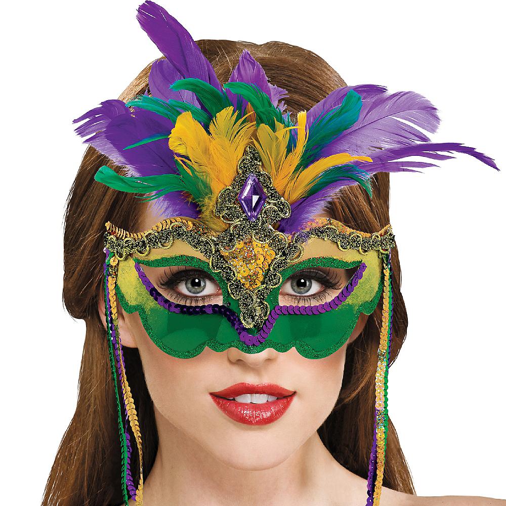 Venetian Feather Mardi Gras Mask Image #2