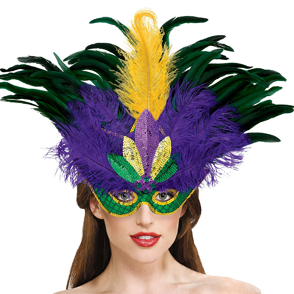 Masquerade Feather Mardi Gras Mask Deluxe Image #2