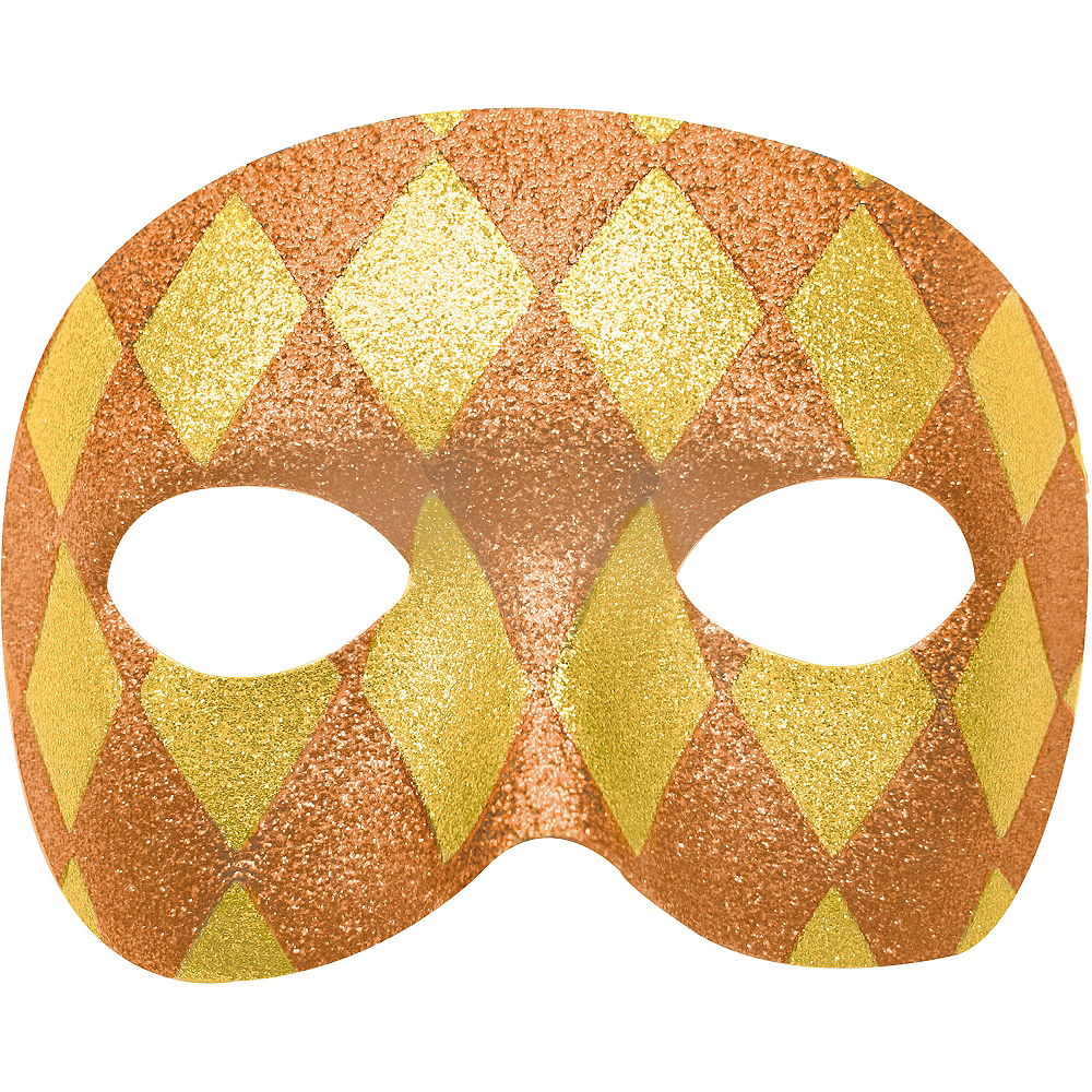 Glitter Gold Harlequin Masquerade Mask 7in x 3in | Party City