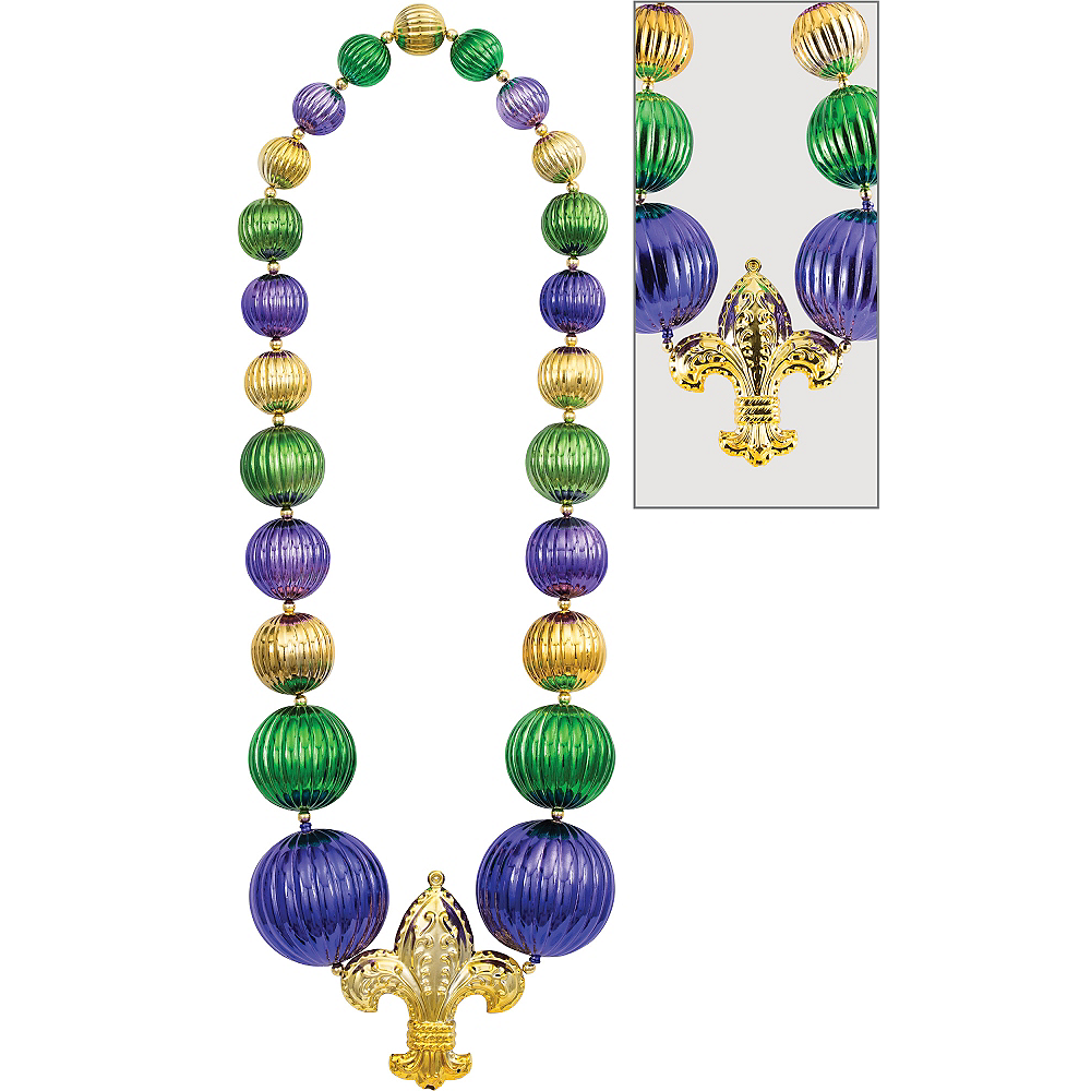 Nav Item for Giant Fleur-de-Lis Mardi Gras Bead Necklace Image #1