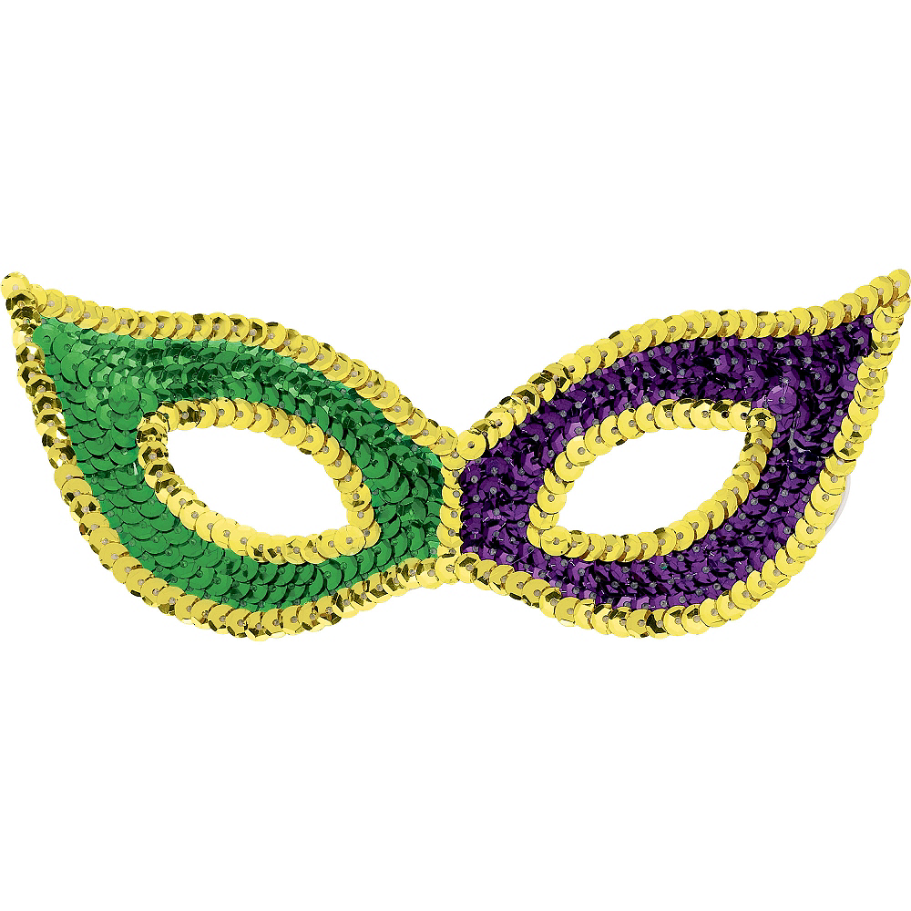 Sequin Mardi Gras Cat Mask Image #1