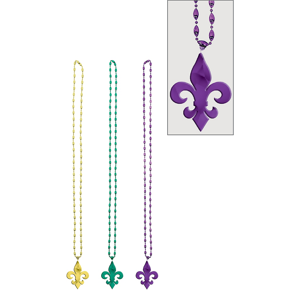 Nav Item for Fleur-de-Lis Mardi Gras Bead Necklaces 3ct Image #1