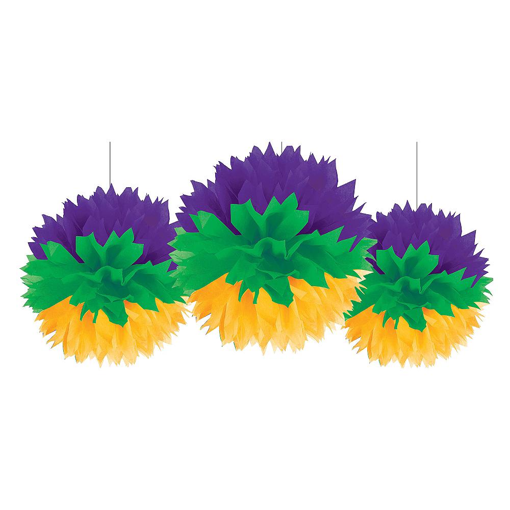 Mardi Gras Tissue Pom Poms 3ct Image #1