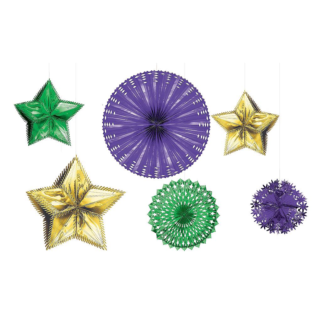 Foil Mardi Gras Starburst Decorating Kit 6pc Image #1