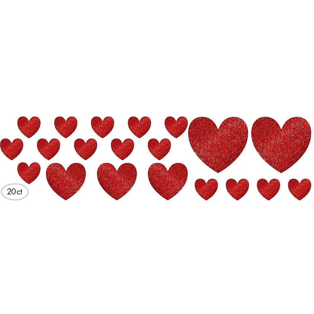 Glitter Heart Cutouts 20ct Image #1