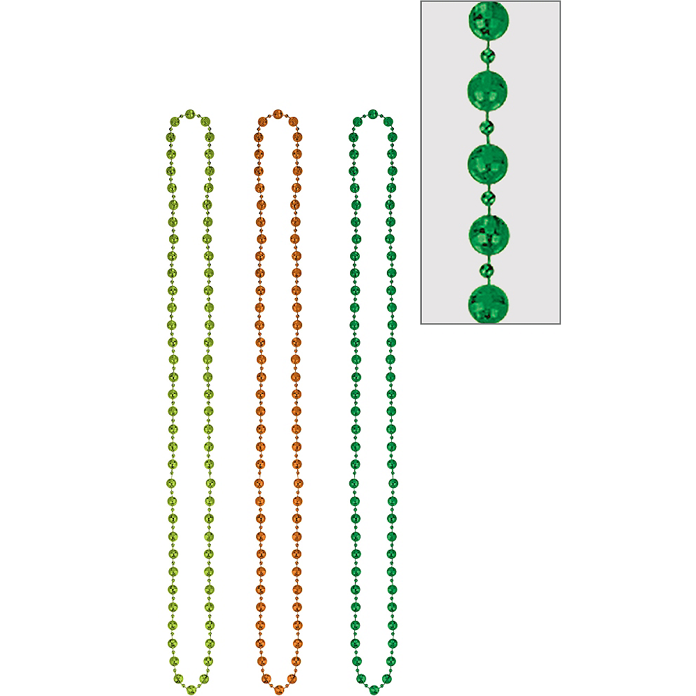 St. Patrick's Day Disco Bead Necklaces 3ct Image #1