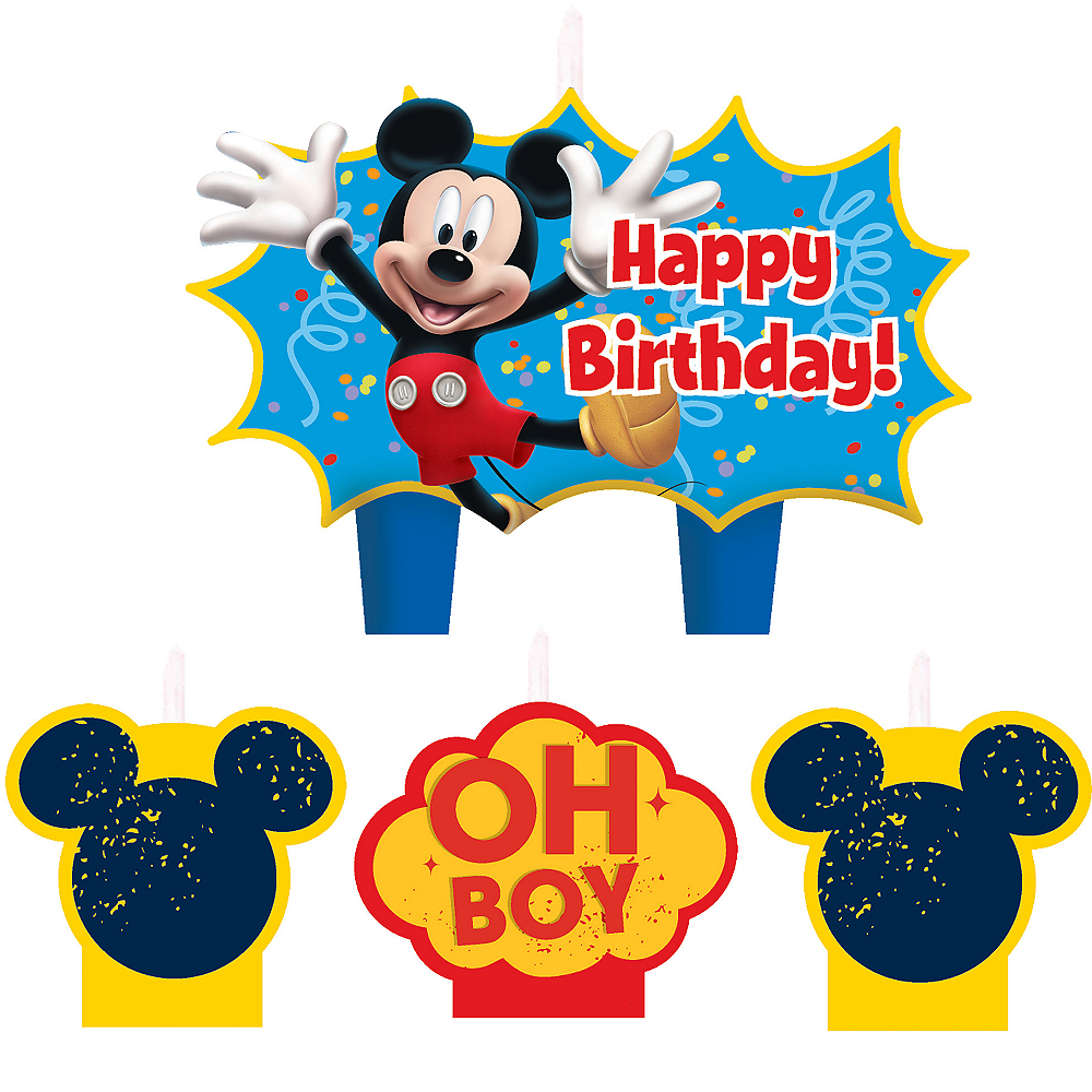 Mickey Mouse Birthday Candles 4ct See All Party Supplies