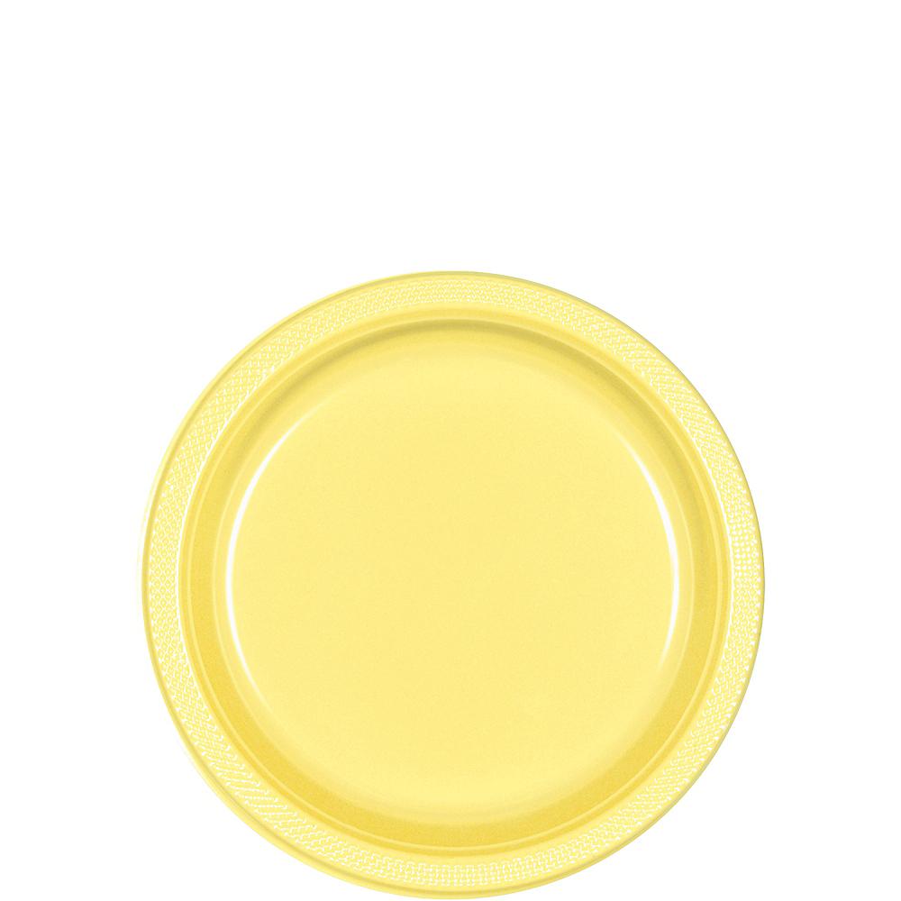 Light Yellow Plastic Dessert Plates 20ct Image #1