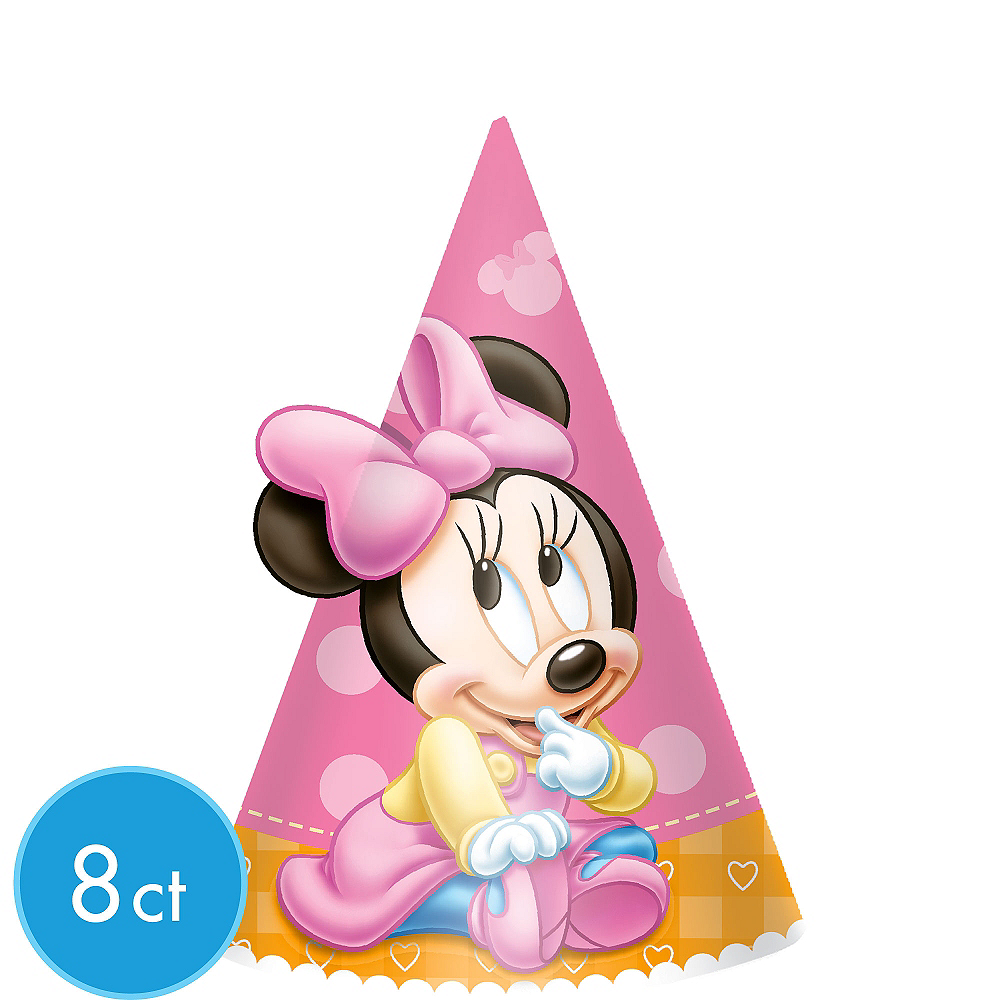 1st Birthday Minnie Mouse Party Hats 8ct Image 1