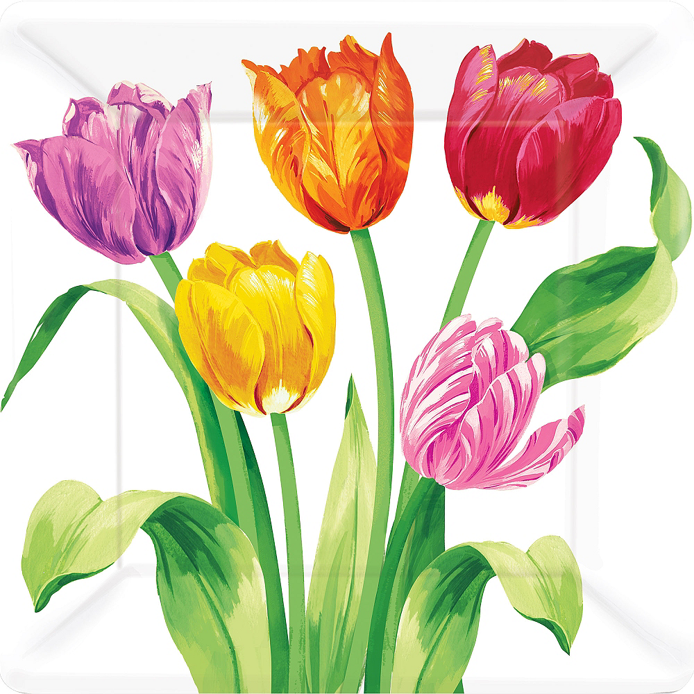 Spring Tulips Lunch Plates 8ct Image #1