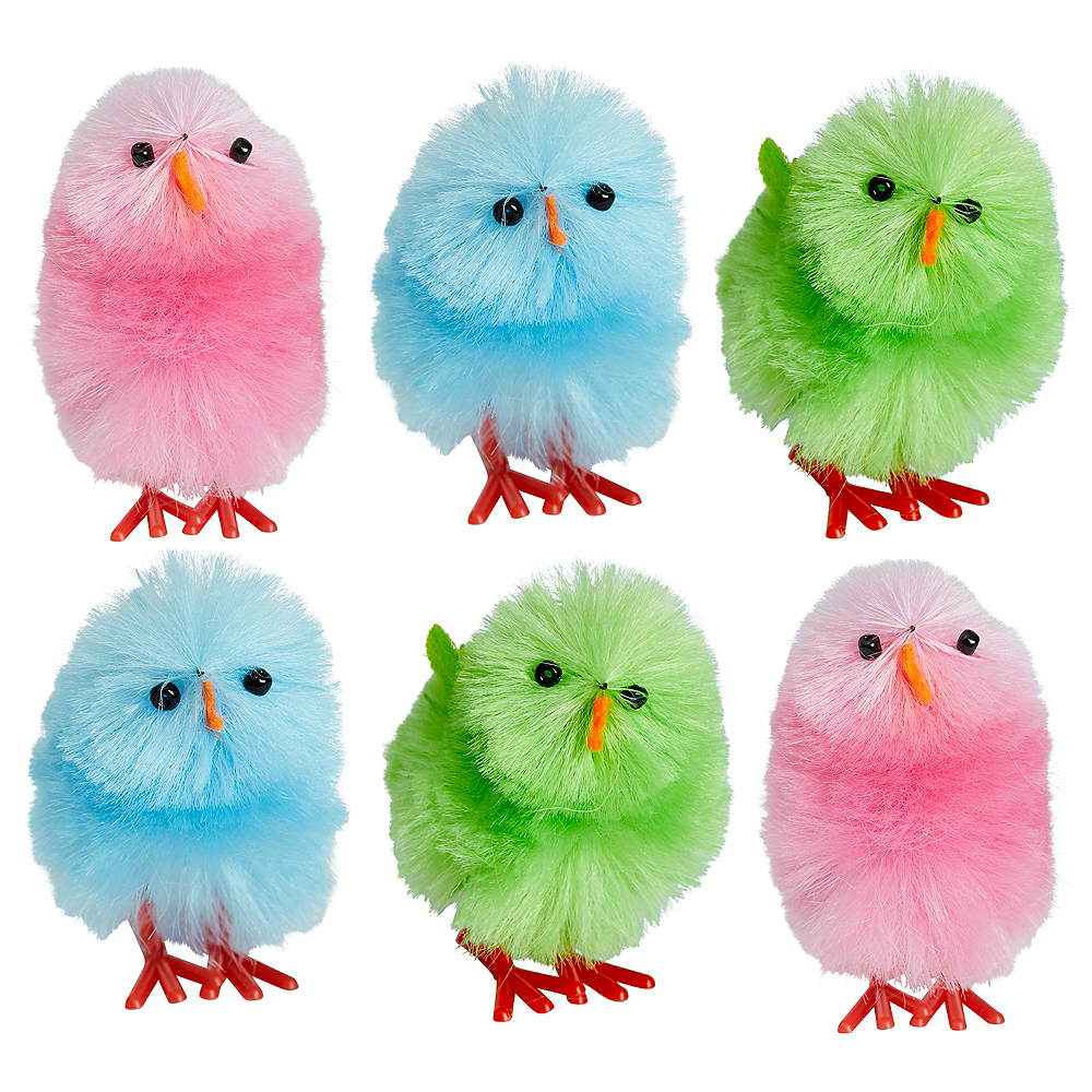 Multicolor Chenille Easter Chicks 6ct Image #1