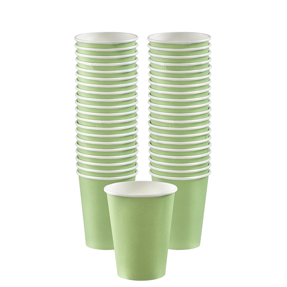 Big Party Pack Leaf Green Paper Coffee Cups 40ct Image #1