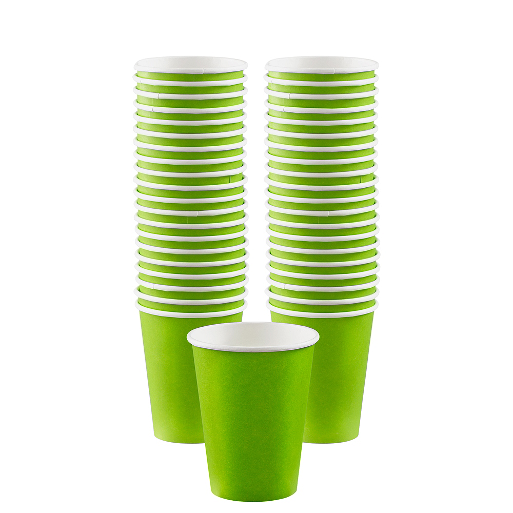 Big Party Pack Kiwi Green Paper Coffee Cups 40ct Image #1