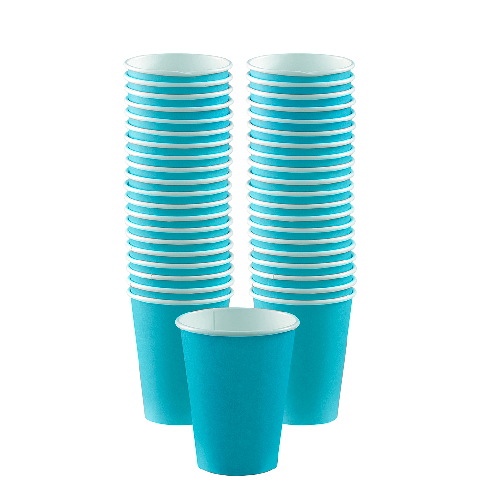 Big Party Pack Caribbean Blue Paper Coffee Cups 40ct Image #1