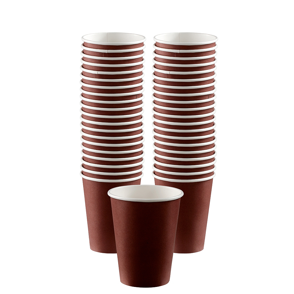 Big Party Pack Chocolate Brown Paper Coffee Cups 40ct Image #1