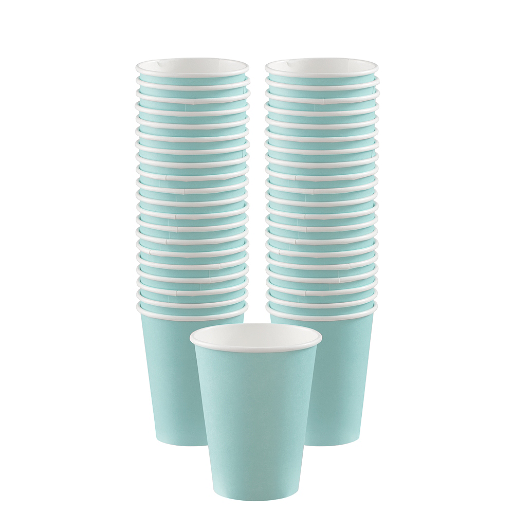 Robin's Egg Blue Paper Coffee Cups, 12oz, 40ct Image #1