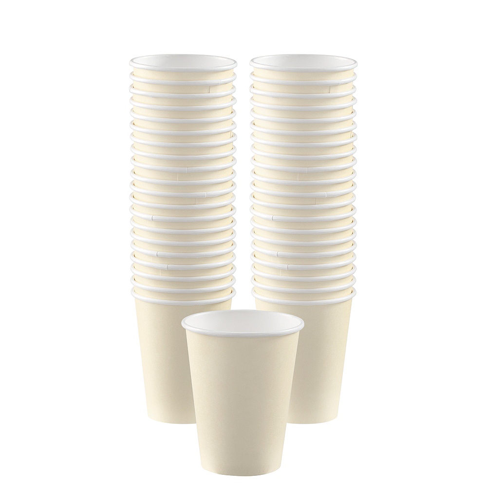 Nav Item for Big Party Pack Vanilla Cream Paper Coffee Cups 40ct Image #1