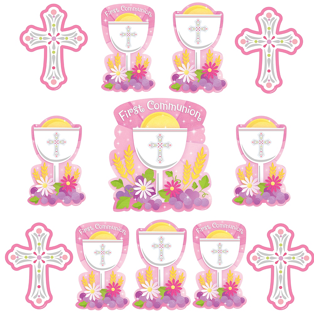 Pink First Communion Cutouts 12ct Image #1