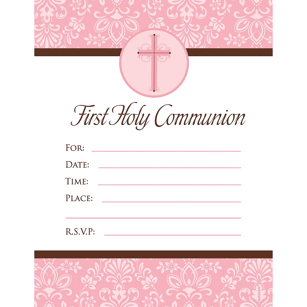 Pink First Communion Invitations 20ct Image #1
