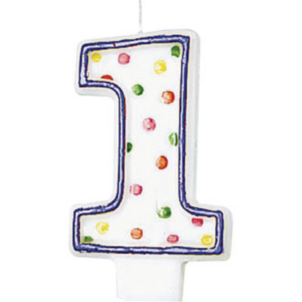 Purple Outline Number 1 Birthday Candle Image