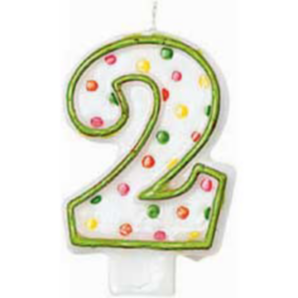 Nav Item for Green Outline Number 2 Birthday Candle Image #1