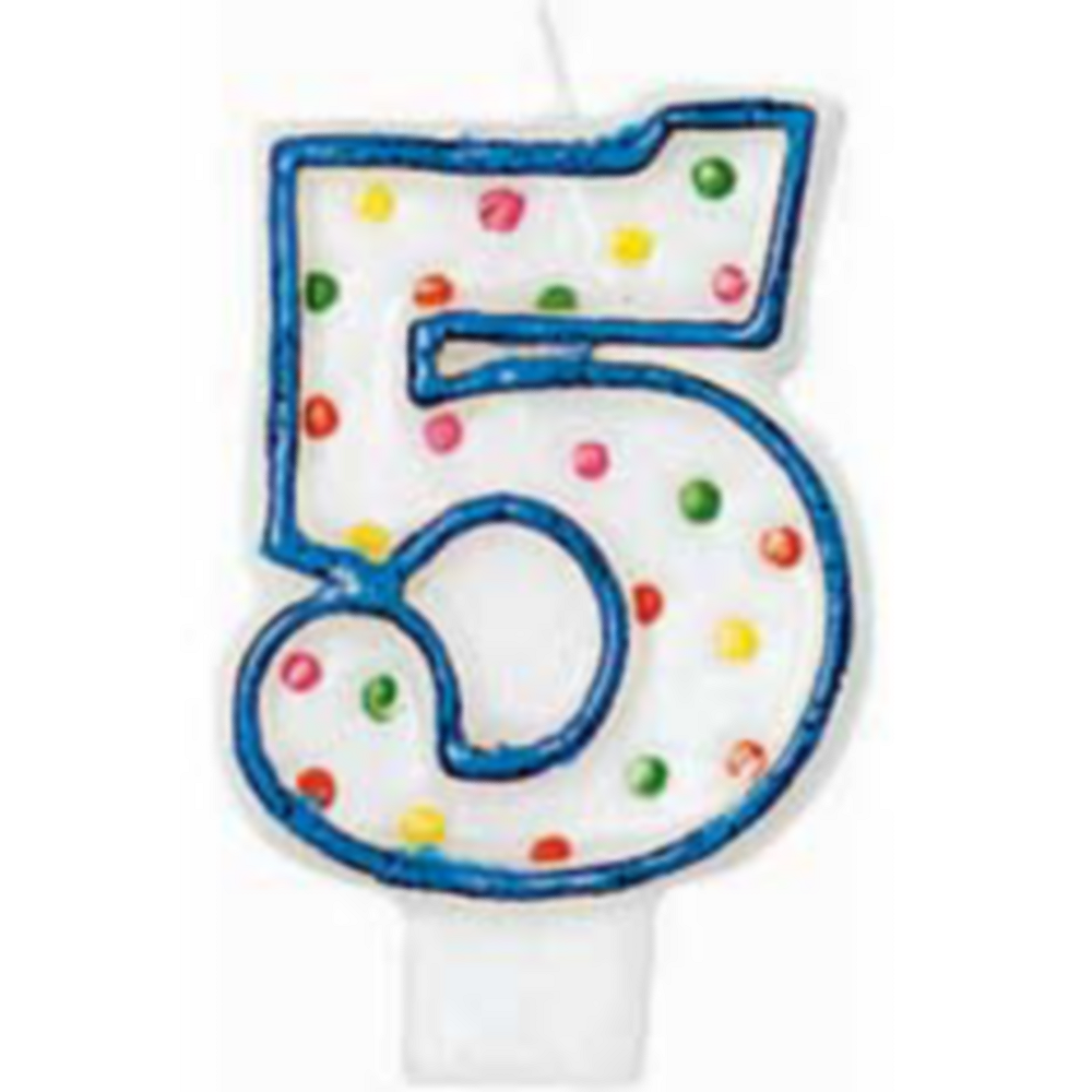 Blue Outline Number 5 Birthday Candle Image #1