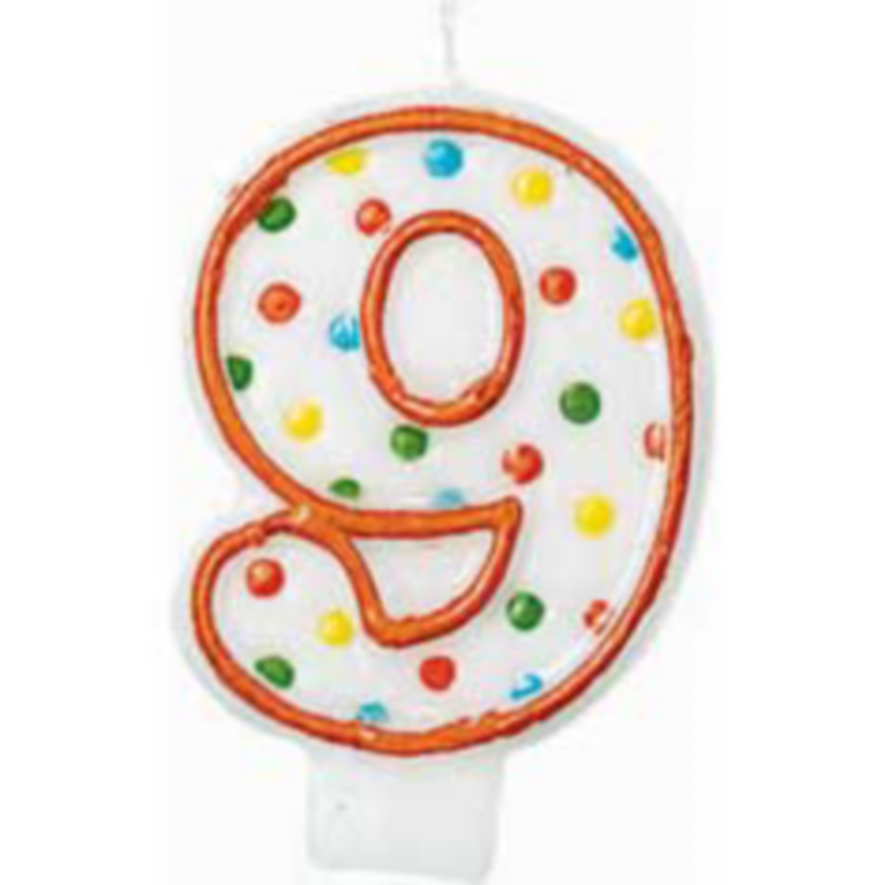 Orange Outline Number 9 Birthday Candle Image #1