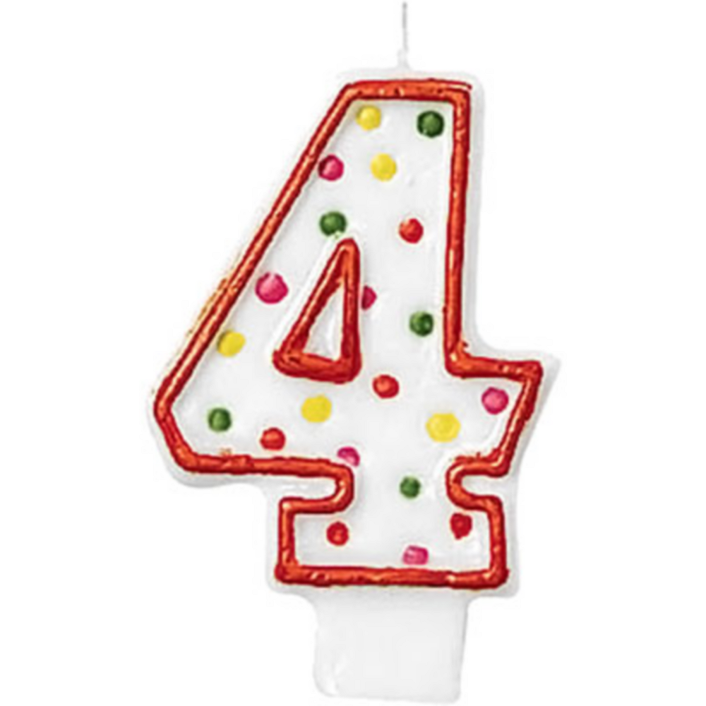 Orange Outline Number 4 Birthday Candle Image #1