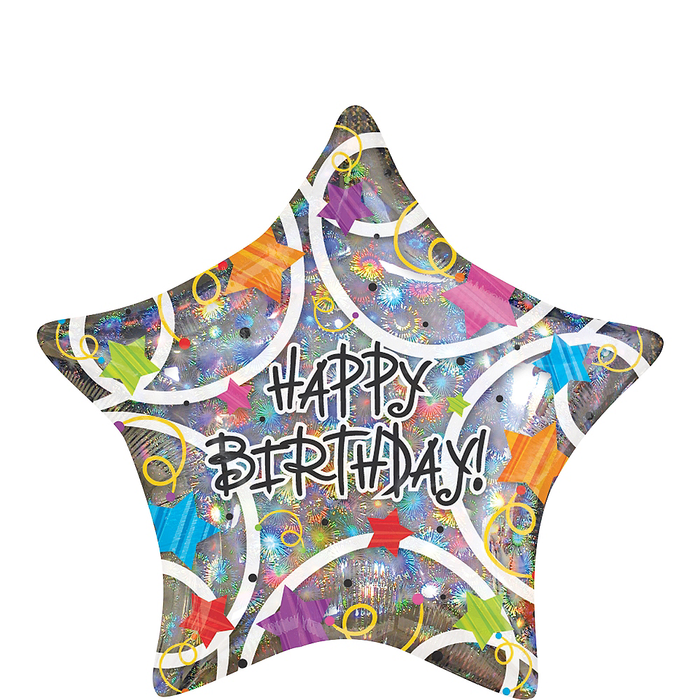 Happy Birthday Balloon 18in - Holographic Star, 18in Image #1