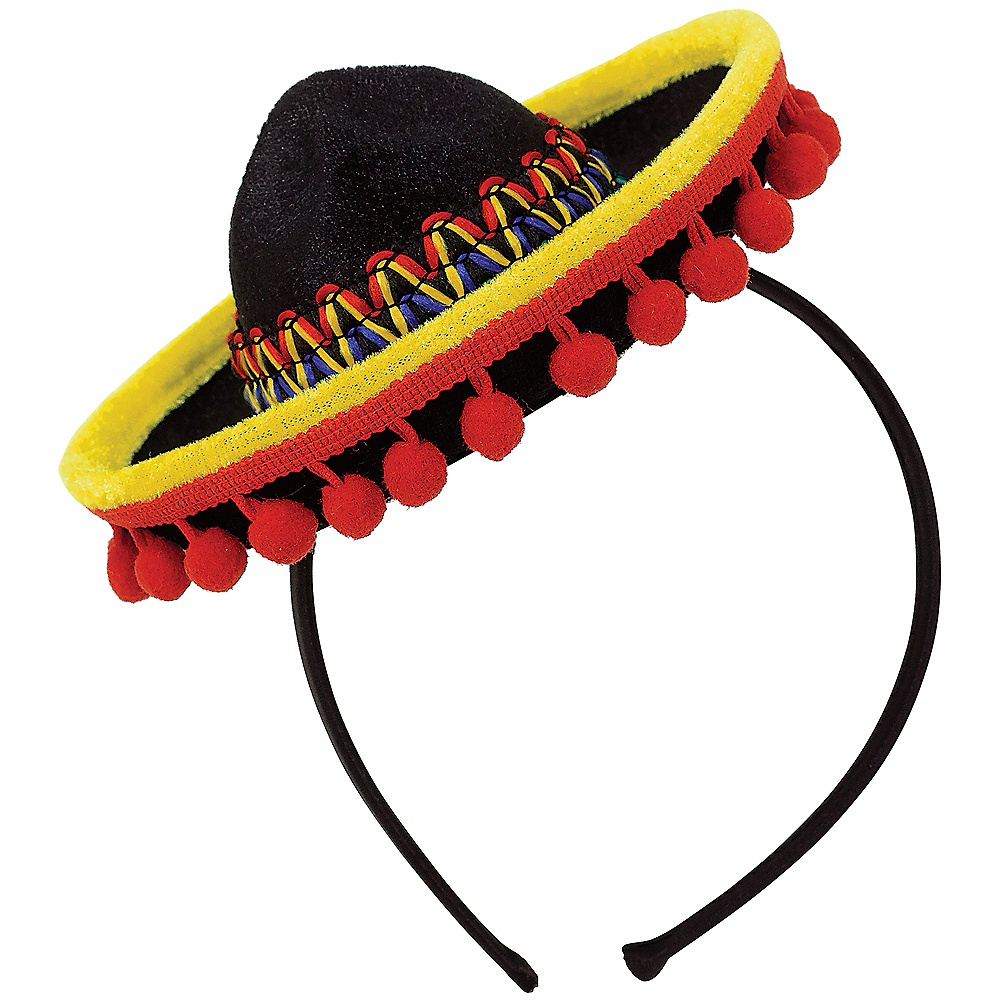 Mini Sombrero Headband with Ball Fringe Image #1