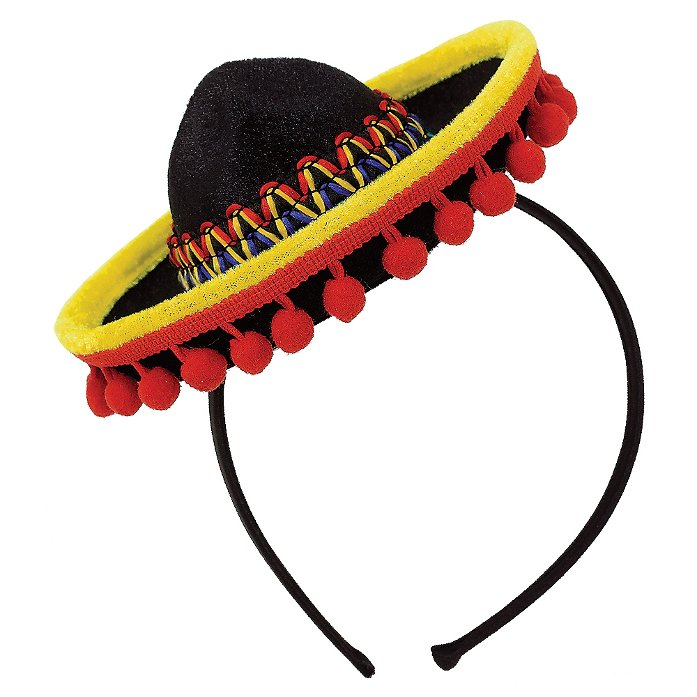 Mini Sombrero Headband with Ball Fringe Image #2