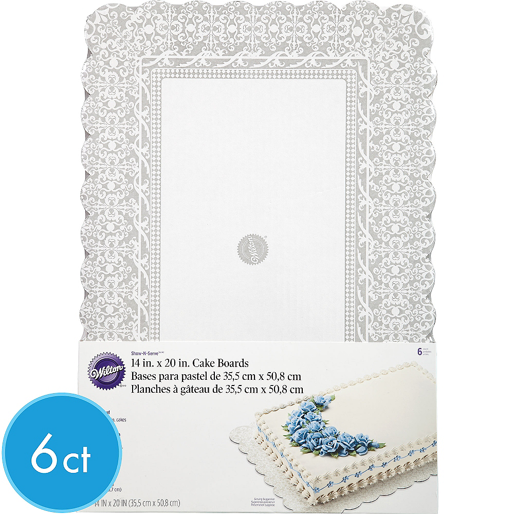 Wilton Silver Damask Cake Boards 6ct Image #1