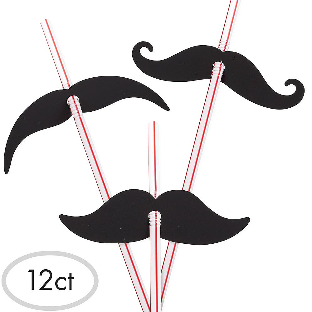 Moustache Flexible Straws 12ct Image #1