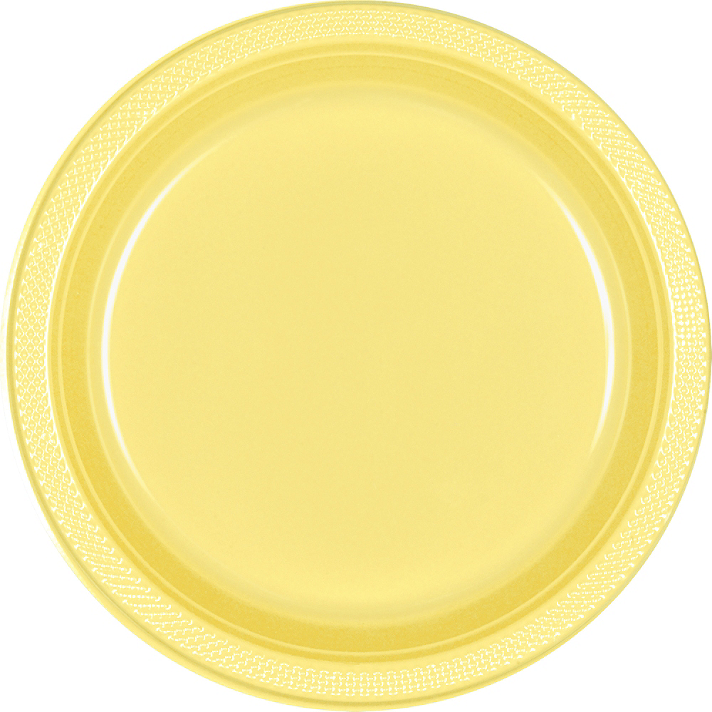 Light Yellow Plastic Dinner Plates 20ct Image #1