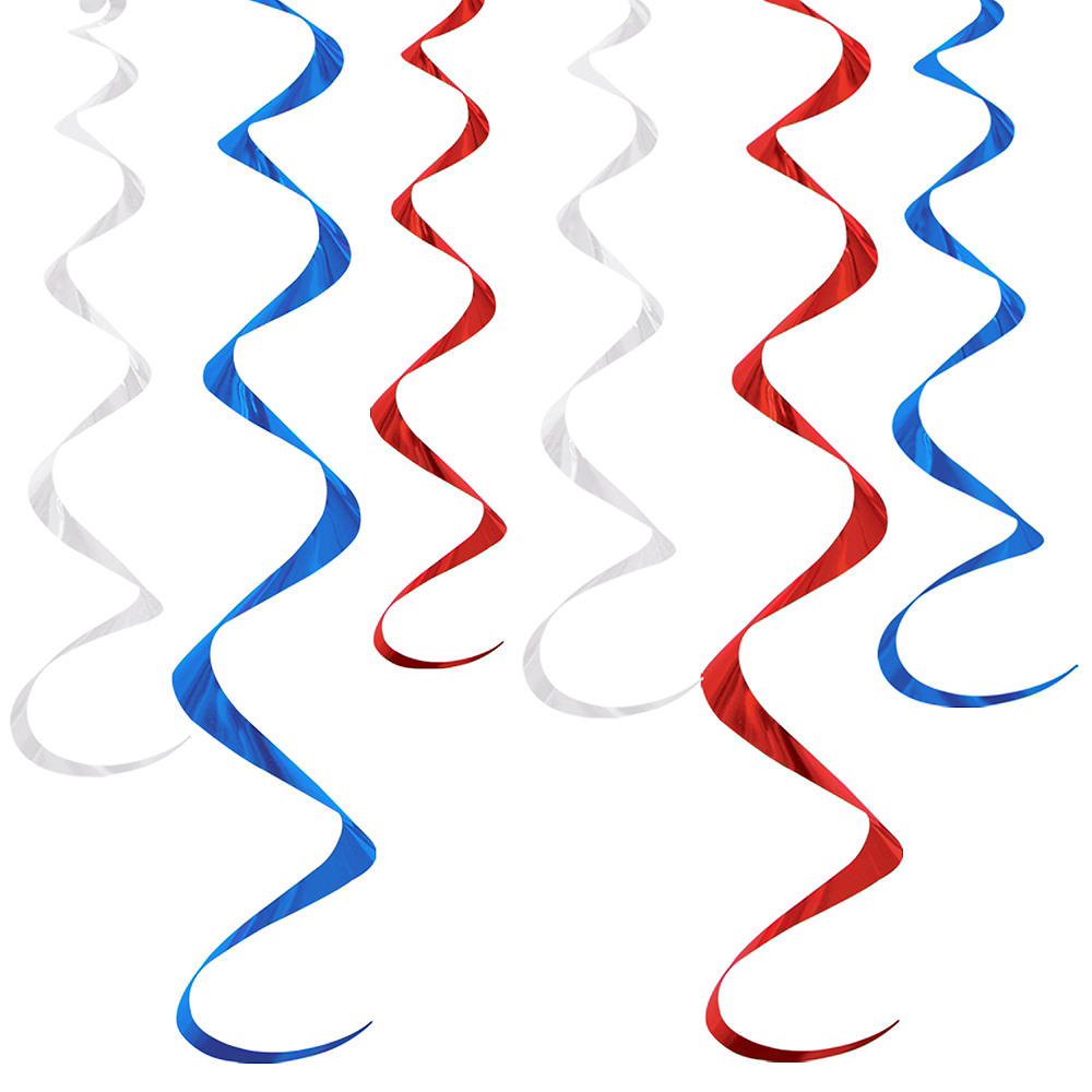 Red, White & Blue Swirl Decorations 6ct Image #1